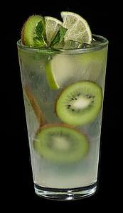 Kiwi, beguda d'estiu, còctel, vidre, Hugo, Tei, verd