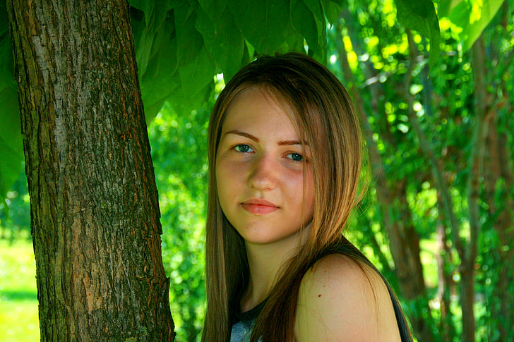 djevojka, portret, plava kosa, ljepota