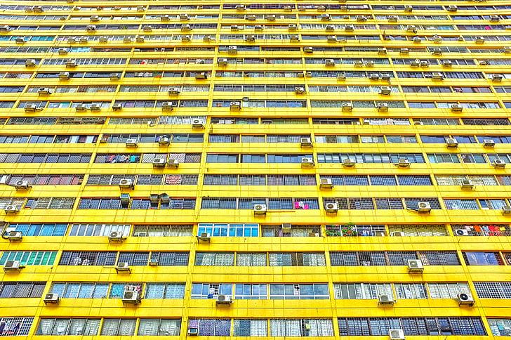 Архітектура, Будівля, Скло, низький кут пострілу, Перспектива, Windows, жовтий