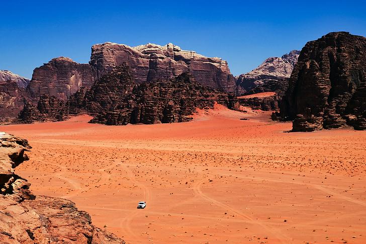 Jordània, desert de, sec, calenta, camioneta, paisatge, estèril