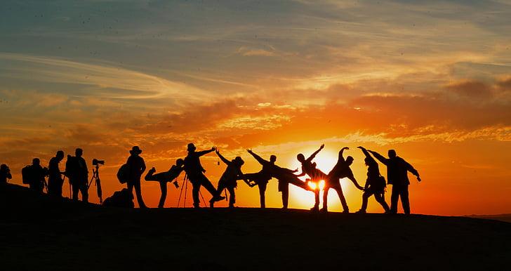 äventyr, bakgrundsbelyst, gemenskapen, Dawn, skymning, vänner, vänskap