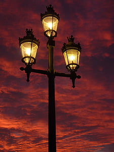 'Nabend, Lampe, Laterne, Licht, Beleuchtung, Himmel, Straßenlaterne