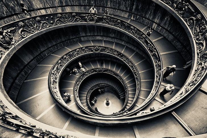 rotere, trapper, spiral, arkitektur, trapp, spiraltrapp, sirkel