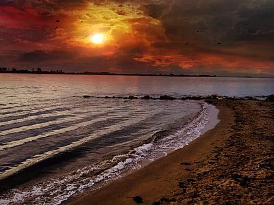 Beach, nebo, sončni zahod, obala, krajine, jezero, rock