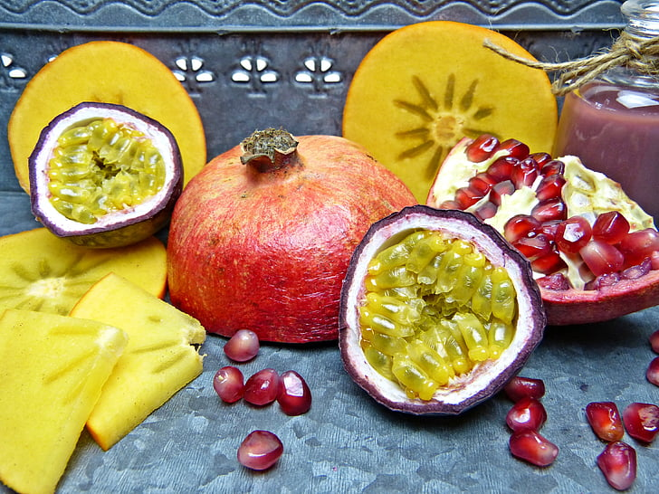 pomegranate, pomegranate seeds, passion fruit, persimon, kaki, sharon, gods fruit