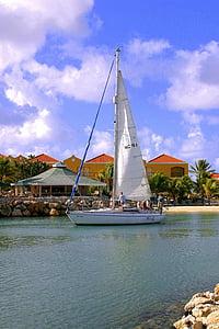 bateau à voile, mer, eau, voilier, Sky, nautique, sport