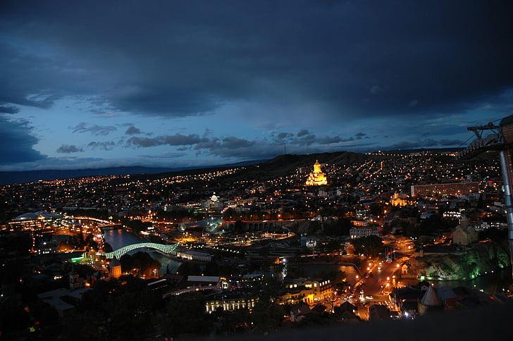 Tbilisi, thủ đô, thành phố, đêm, Georgia, Quốc gia, Các thành phố