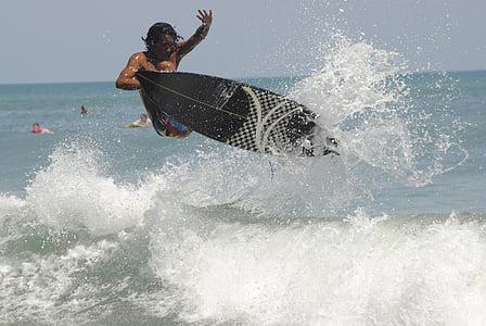 surfeur, Surf, action, vague, eau, planche de surf, océan