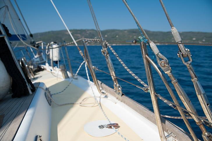 sommar, segling, segelbåt, Grekland, segelbåt vant, havet, blå