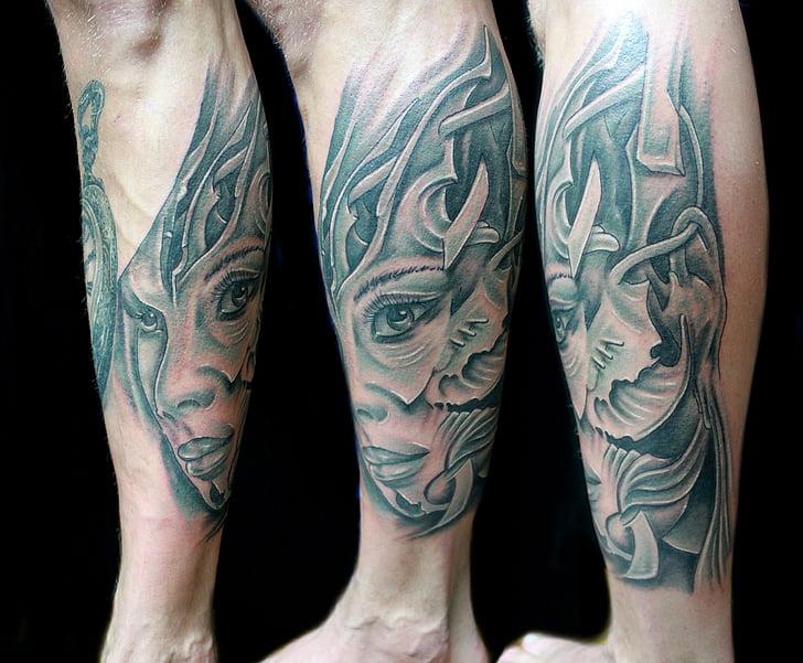 tatuatge, dona, cama