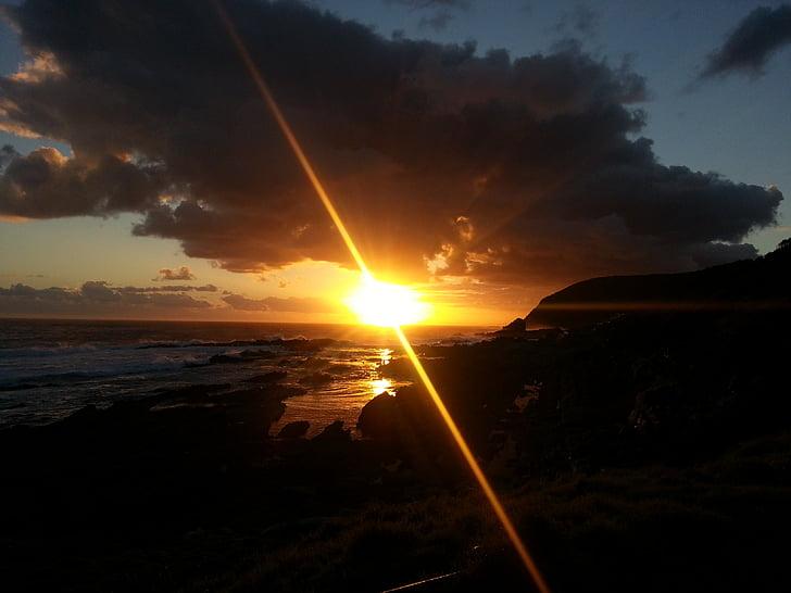 posta de sol, Sud-àfrica, Tsitsikamma national park, Àfrica, riba, platja, Costa