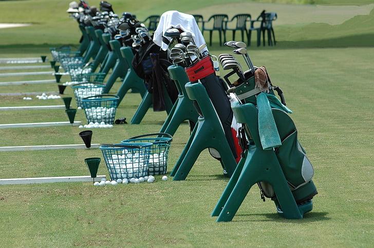 golf clubs, golf bags, driving range, golf school, lessons, practice, golf