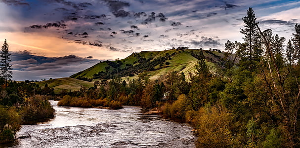 american river, sky, clouds, sunset, twilight, dusk, evening