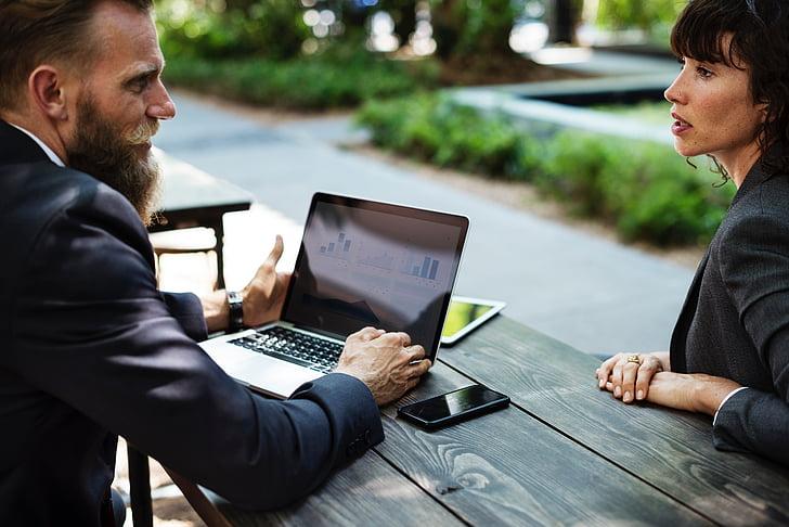 people, man, woman, corporate, business, meeting, laptop