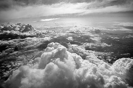 czarno-białe, chmury, Natura, Morze chmur, niebo, Pogoda, Chmura - Niebo