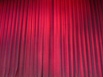 sarkana, aizkari, drapējums, teātris, samta, audums, teātris
