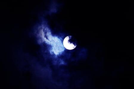 Mond, Himmel, Nacht, Supermoon, Natur, Blau, Kontrast