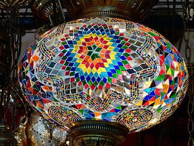 Làmpada, llum, il·luminació, llum de sostre, colors, Turquia, basar