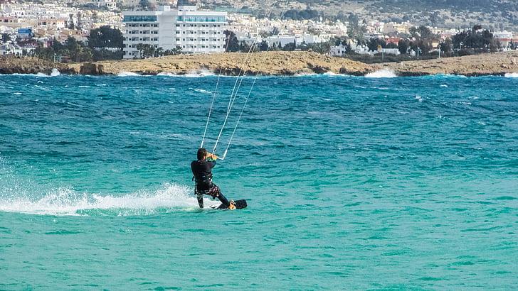 Xipre, escuma d'estel, kitesurf, acció, surfista