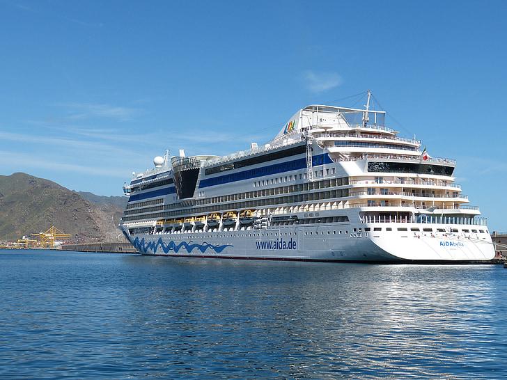 kryssning, kryssningsfartyg, fartyg, trafik, havet, hamn, semester kryssning