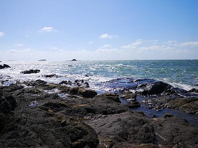 jūra, dangus, mėlyna, paplūdimys, žiemos jūra, mėlynas dangus