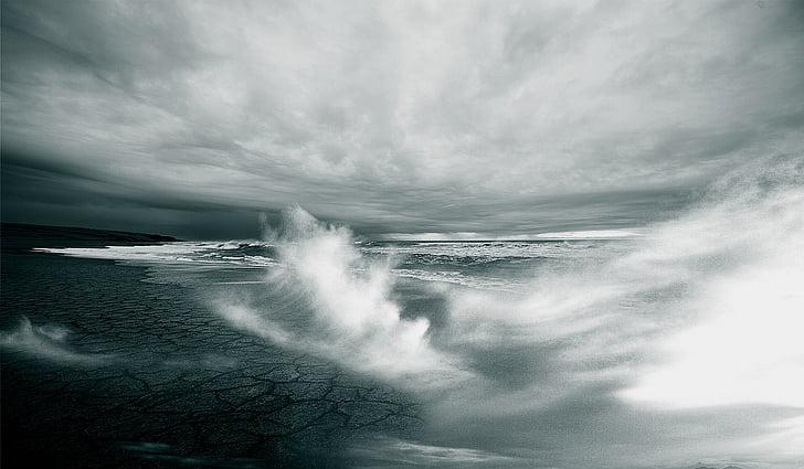 Pantai, kering, kerak, liar, gelombang, air, semprot