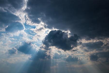 dangus, debesys, Saulė, spinduliai, Orai, mėlyna, tamsus