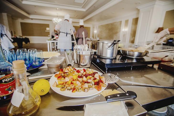 jedlo, nápoje, Reštaurácia, varenie, ľudia, v interiéri, Príprava