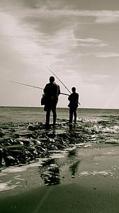 fisherman, sea, beach, fishing, nature, fishing Rod, water