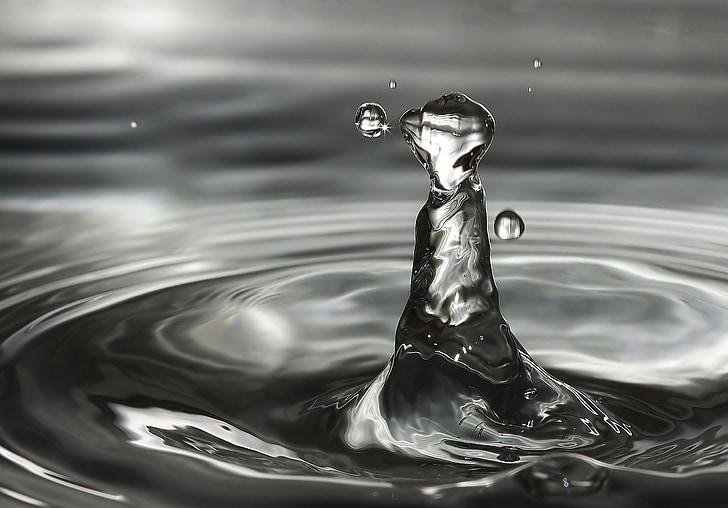 水, 波, 水ドロップの高ジャンプ, 水が水をキスします。, 一滴の水