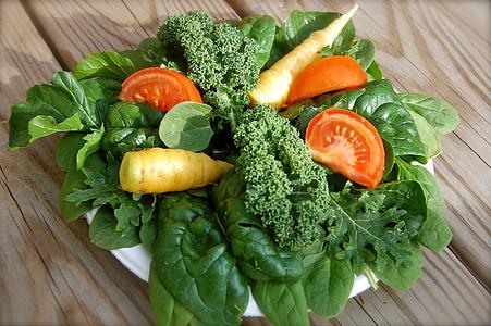 Sałatka, Zieloni, zdrowe, jedzenie, diety, sałata, szpinak