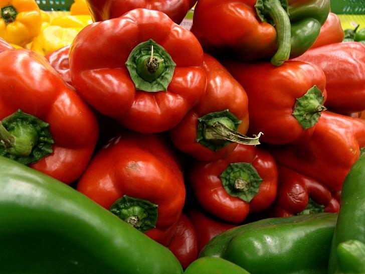 pipart, punane, köögiviljad, taimne, toidu, värskuse, pipar - taimsed