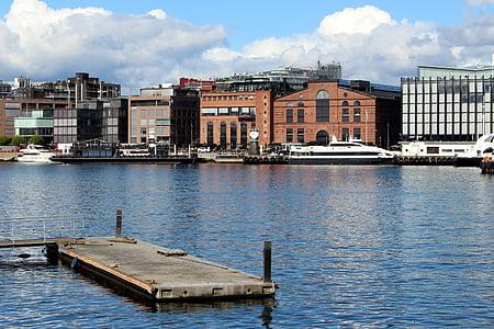 Oslo, Norge, hamn, Oslofjorden, staden, byggnad, Scandinavia