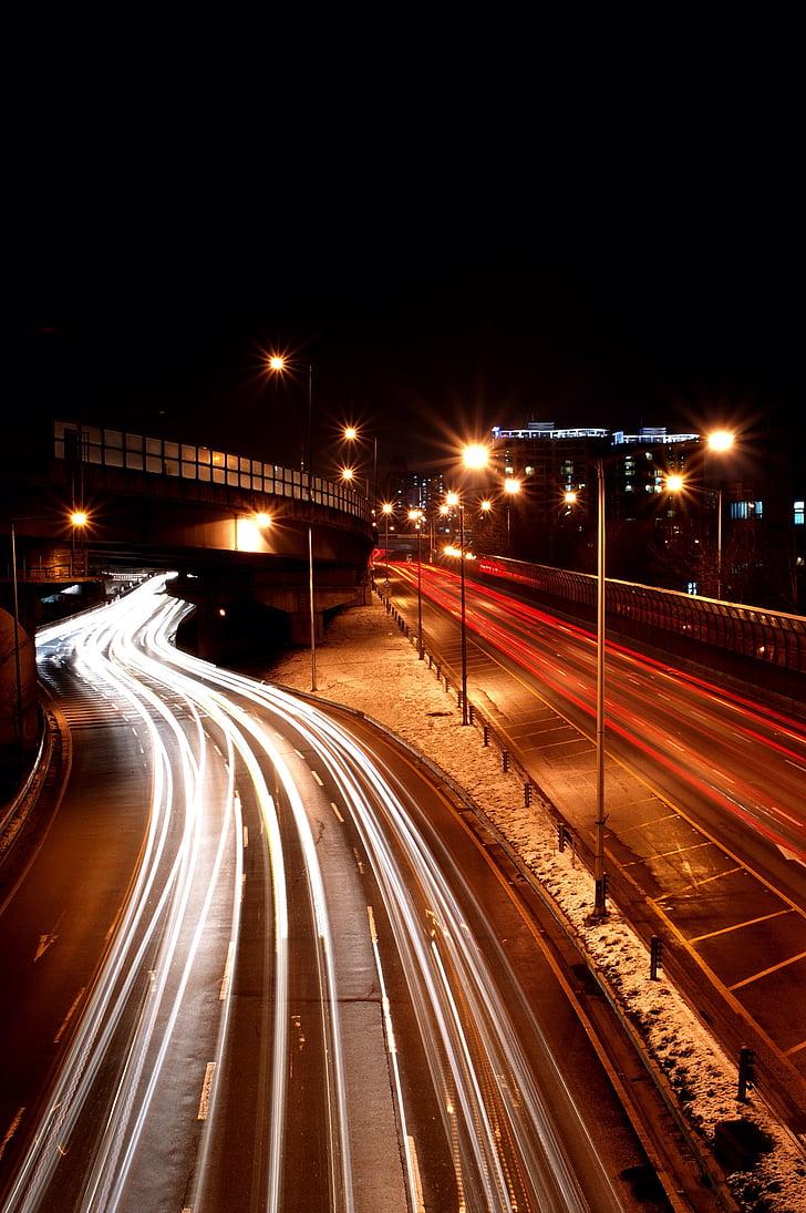 Tabitha, ciutat, vista nocturna, il·luminació, cursa, vagó de passatgers, te