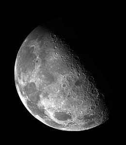 poole, Moon, ruumi, planeedi, kuu pind, astronoomia, mustal taustal