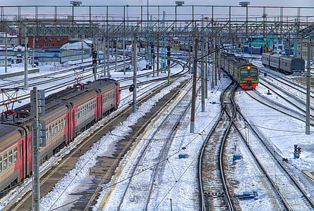 railway, winter, train, node, motion, electric train, rails