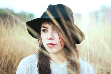 beauty, eyes, face, field, girl, hat, outside