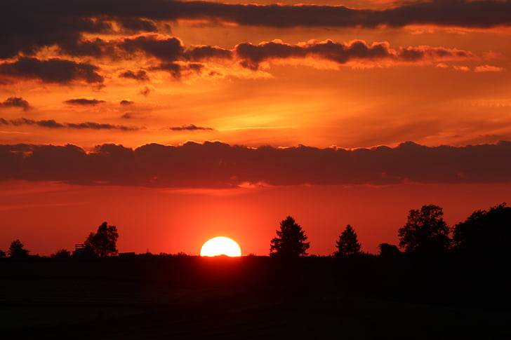 solnedgång, kvällen, natt, moln, naturen, skymning, siluett