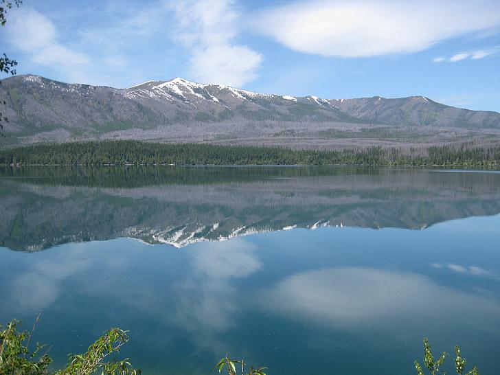 Glacera del parc nacional, Llac, Llac de muntanya, muntanyes, Parc Nacional, paisatge