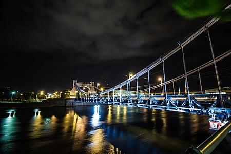 night, bridge, water, city centre, lights, city, architecture