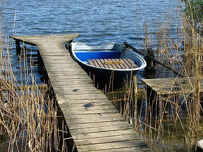 al costat del llac, embarcador, bota, natura, Llac, vaixell nàutica, l'aigua