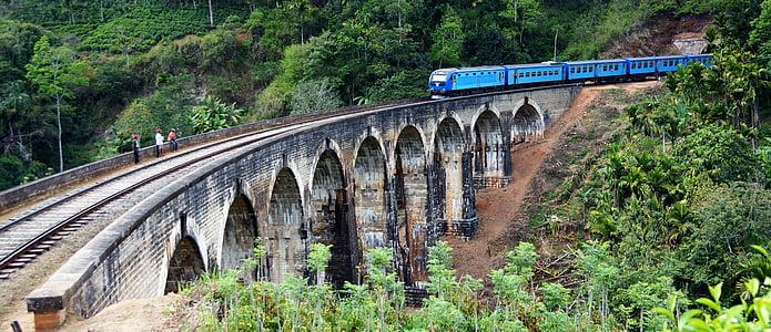vlak, 9 oblúkový most, Ella, železničná, Srí lanka
