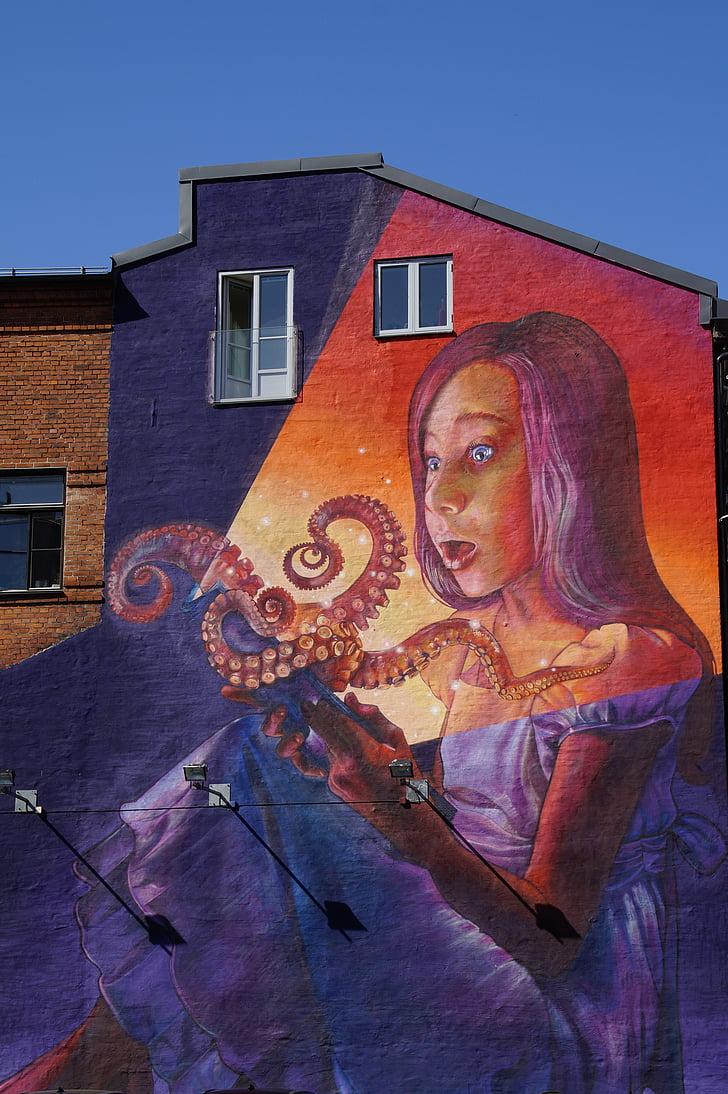 épület, festett, graffiti, grafika, fal, nő, hatalmas