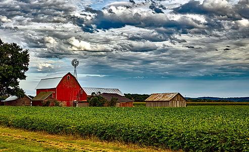 wisconsin, landscape, scenic, sky, clouds, barn, windmill
