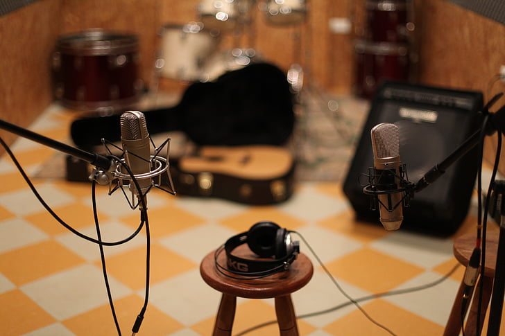 mikrofons, mūzika, studija, mūzikas studija, posma, skaņu, ģitāra
