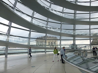 berlin, glass dome, reichstag, building, people, architecture, indoors
