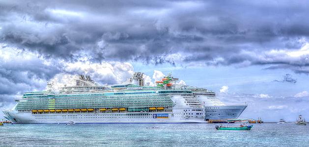 havet, skyer Caribien, ferie, Ocean, rejse, vand, båd