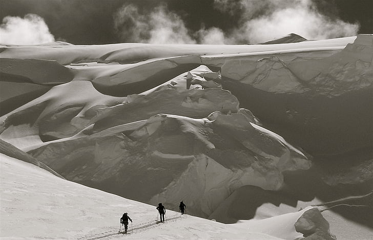 creu país esquiadors, neu, siluetes, viatges, a l'exterior, estil de vida, actiu