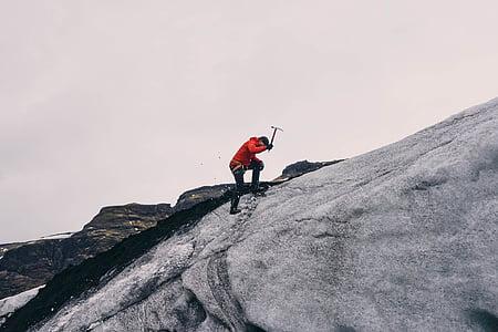 escalada, alpinista, muntanya, aventura, pujar, actiu, home