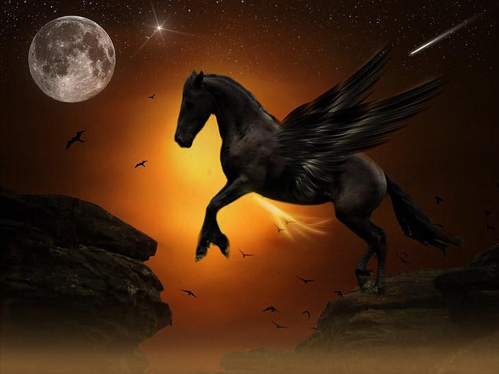 pegasus, moon, jump, rock, gold, youth, dom
